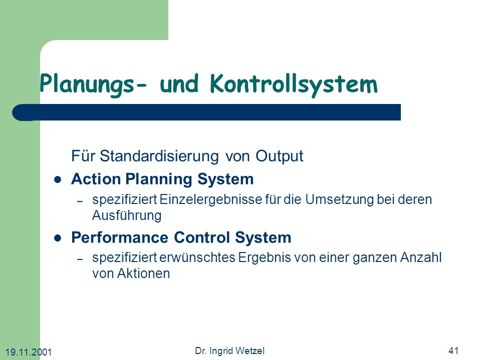 Planungs- und Kontrollsystem