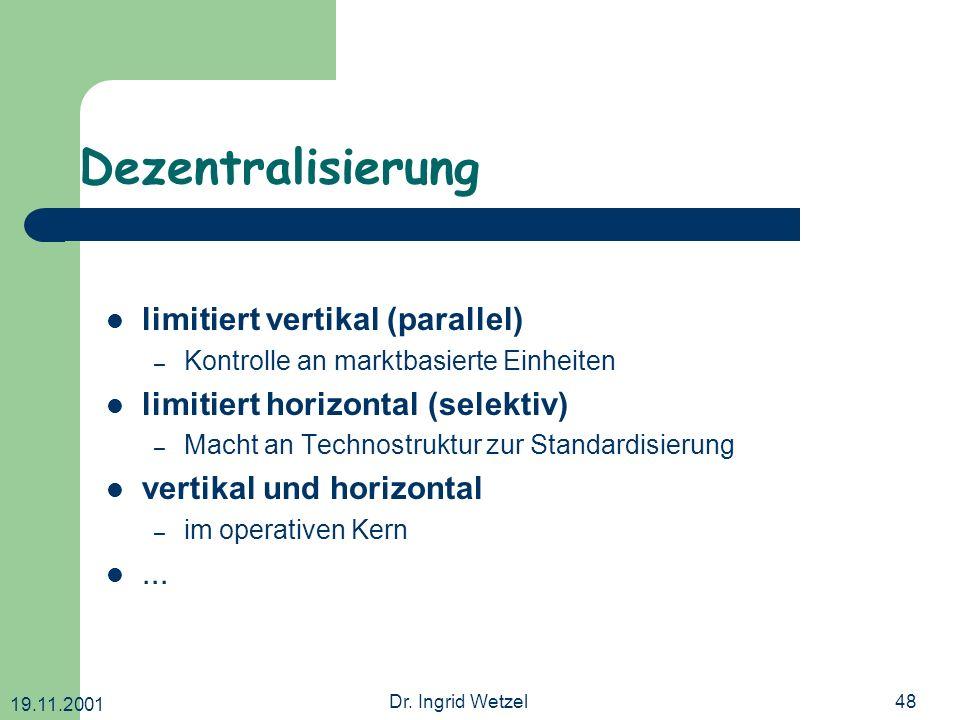 Dezentralisierung limitiert vertikal (parallel)