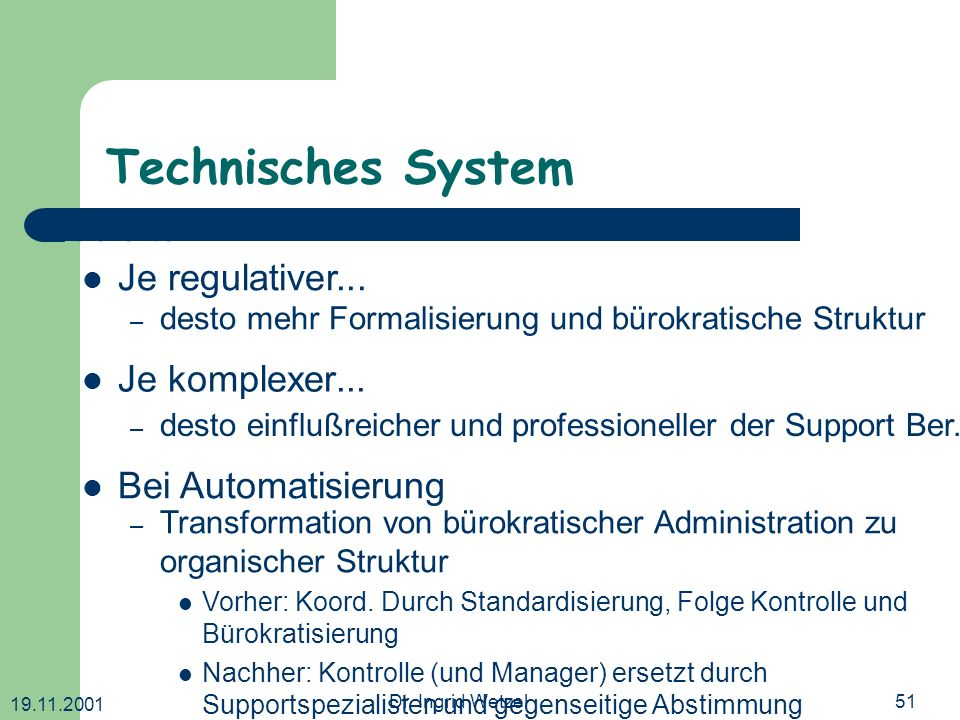 Technisches System Je älter ... Je regulativer... Je komplexer...