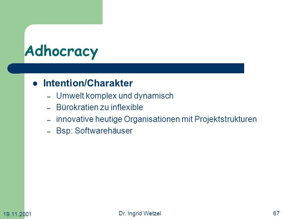 Adhocracy Intention/Charakter Umwelt komplex und dynamisch