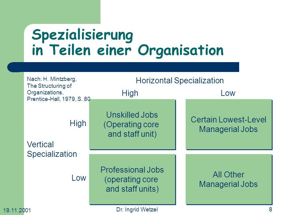 Spezialisierung in Teilen einer Organisation