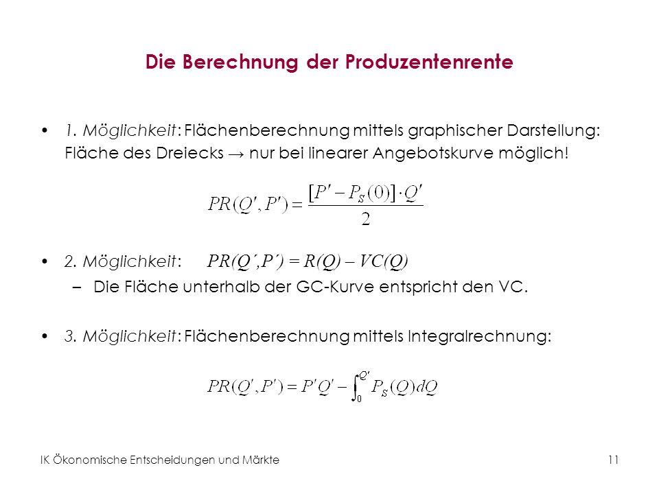 Die Berechnung der Produzentenrente