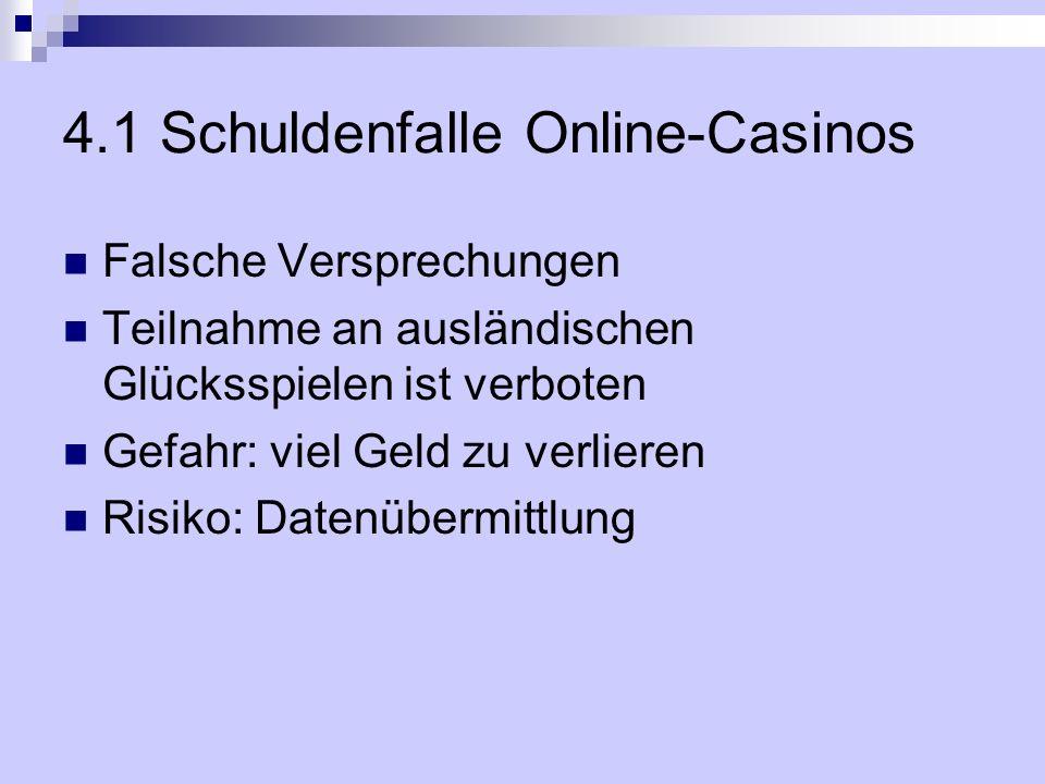 4.1 Schuldenfalle Online-Casinos