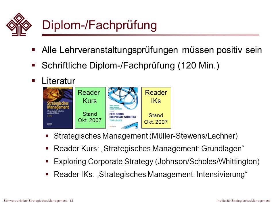 Diplom-/Fachprüfung Alle Lehrveranstaltungsprüfungen müssen positiv sein. Schriftliche Diplom-/Fachprüfung (120 Min.)