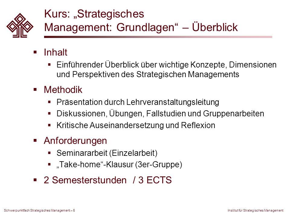 """Kurs: """"Strategisches Management: Grundlagen – Überblick"""