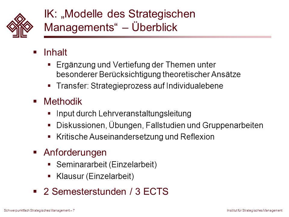 """IK: """"Modelle des Strategischen Managements – Überblick"""