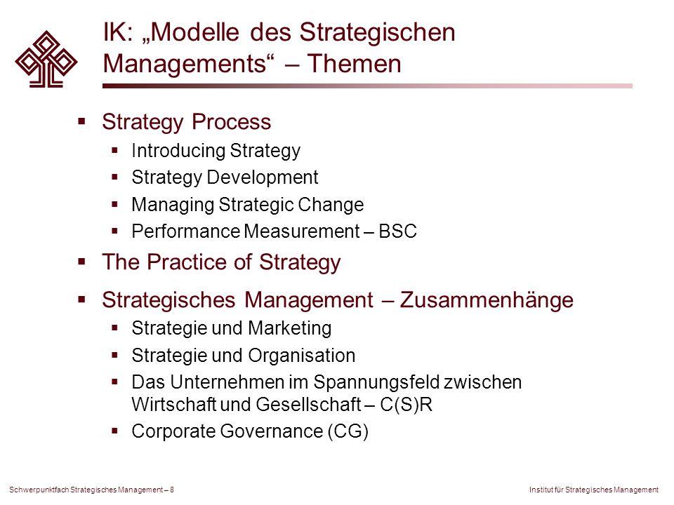"""IK: """"Modelle des Strategischen Managements – Themen"""