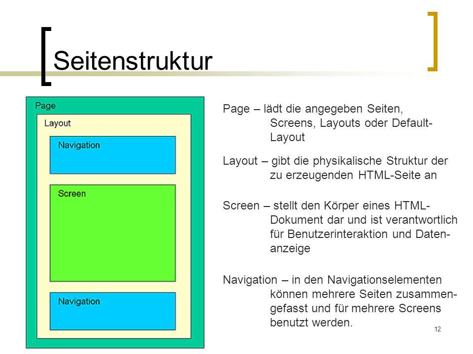 Seitenstruktur Page – lädt die angegeben Seiten,