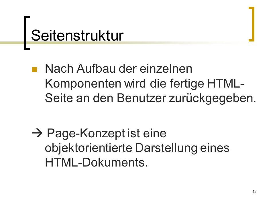 Seitenstruktur Nach Aufbau der einzelnen Komponenten wird die fertige HTML-Seite an den Benutzer zurückgegeben.