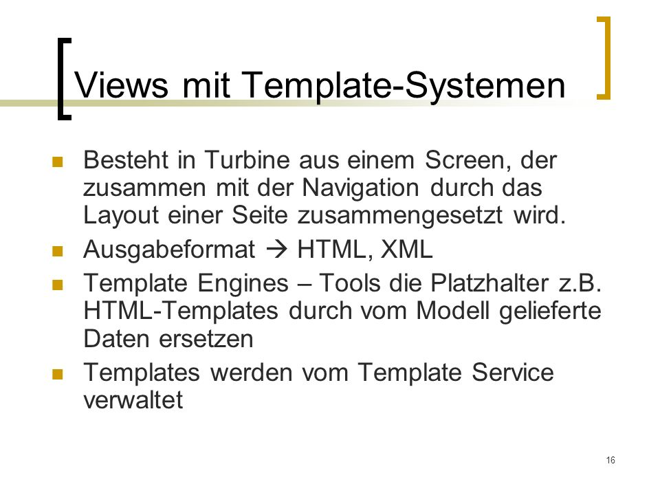 Views mit Template-Systemen