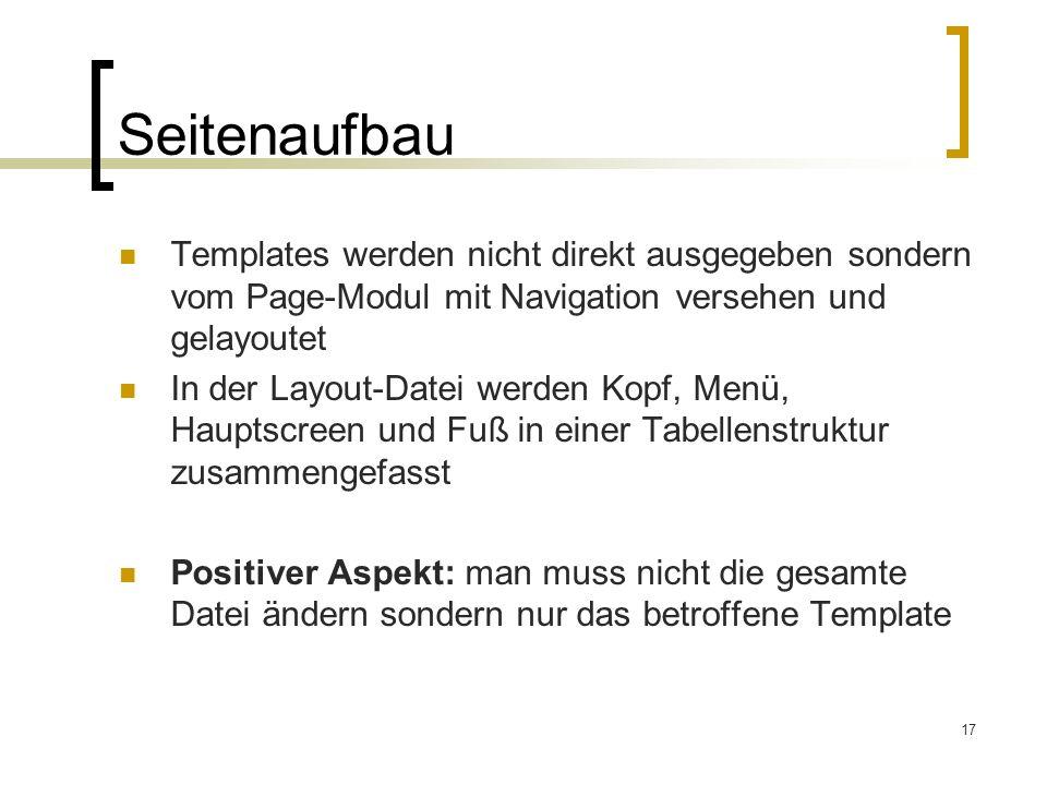Seitenaufbau Templates werden nicht direkt ausgegeben sondern vom Page-Modul mit Navigation versehen und gelayoutet.