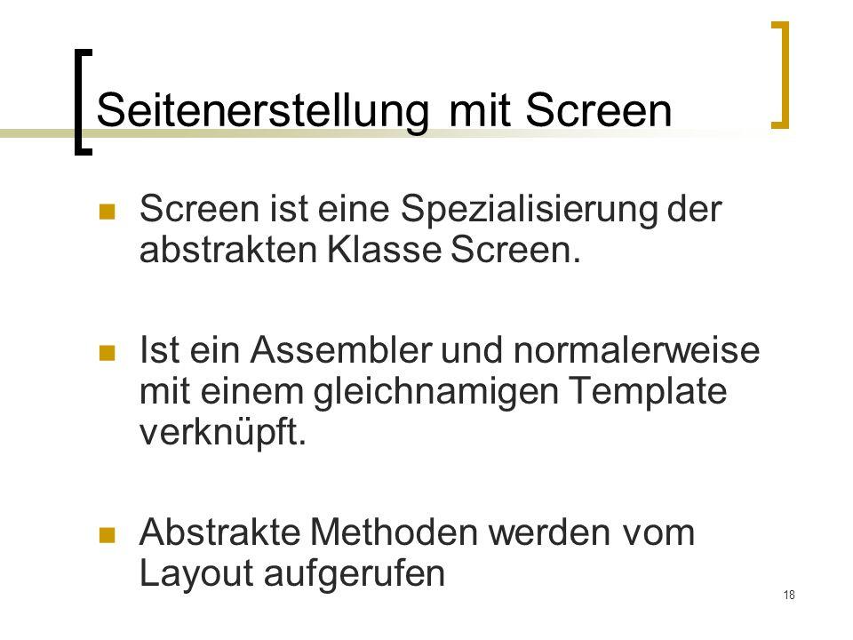 Seitenerstellung mit Screen