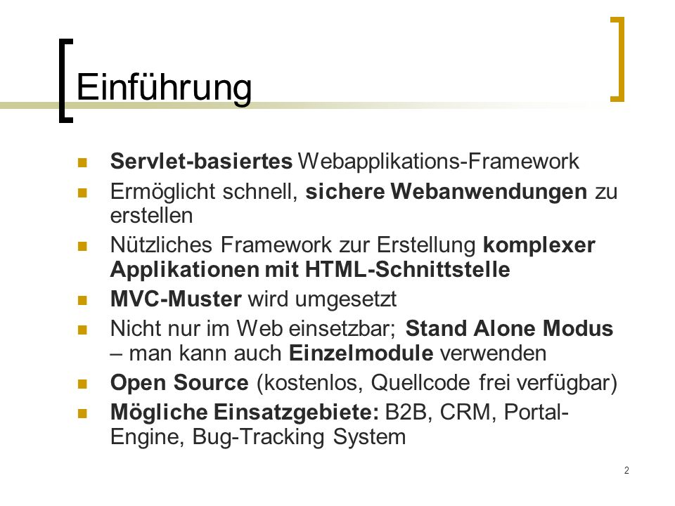 Einführung Servlet-basiertes Webapplikations-Framework