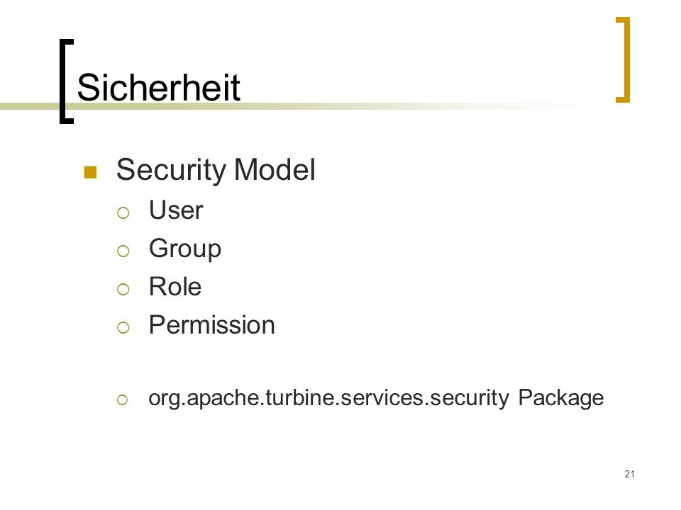 Sicherheit Security Model User Group Role Permission
