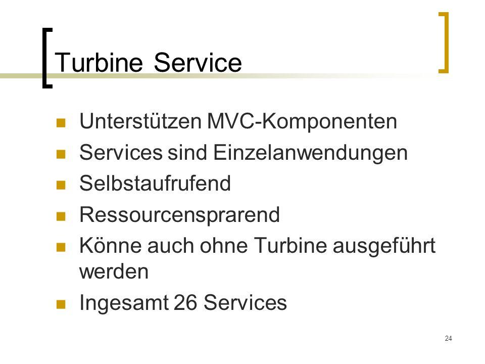 Turbine Service Unterstützen MVC-Komponenten