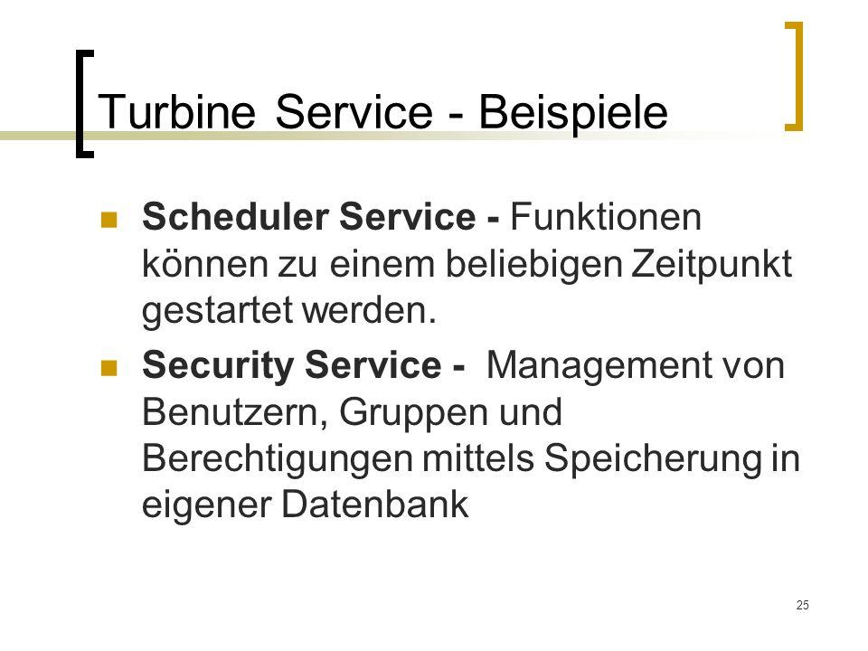 Turbine Service - Beispiele