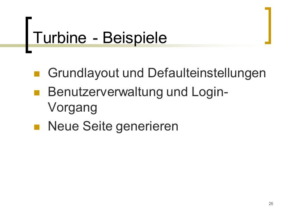 Turbine - Beispiele Grundlayout und Defaulteinstellungen