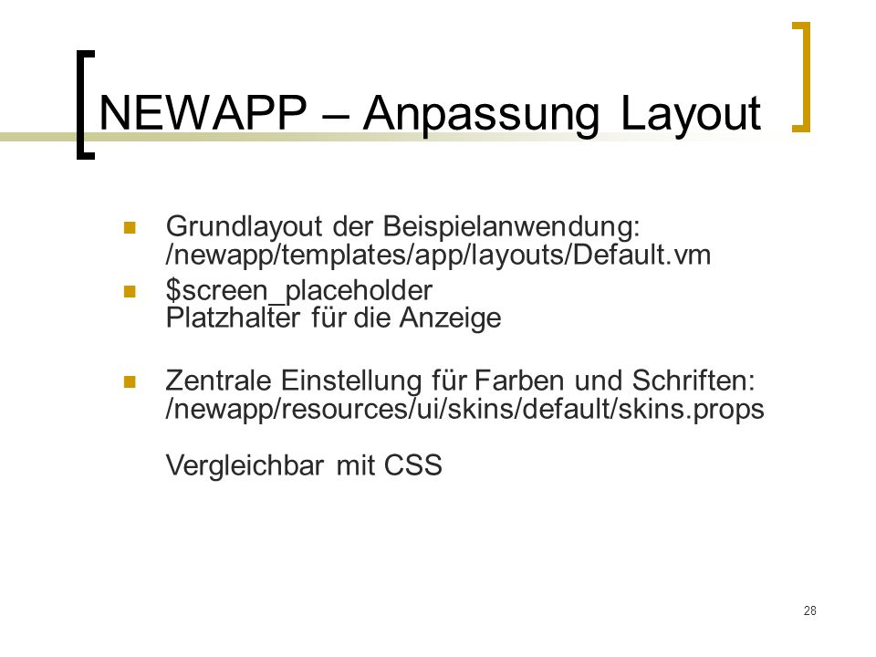NEWAPP – Anpassung Layout