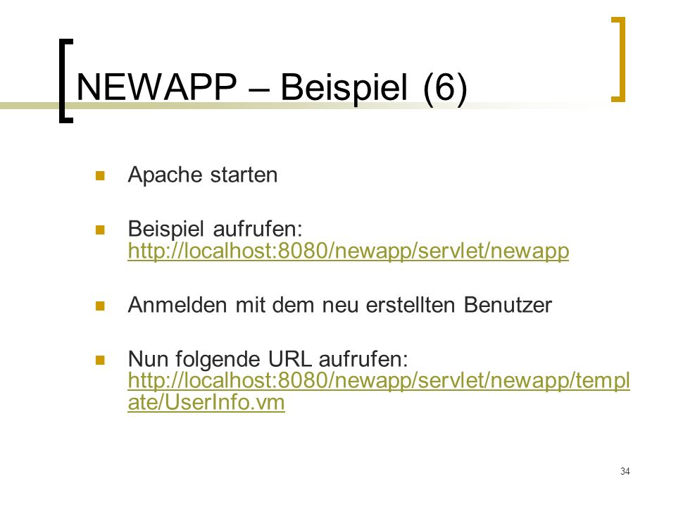 NEWAPP – Beispiel (6) Apache starten