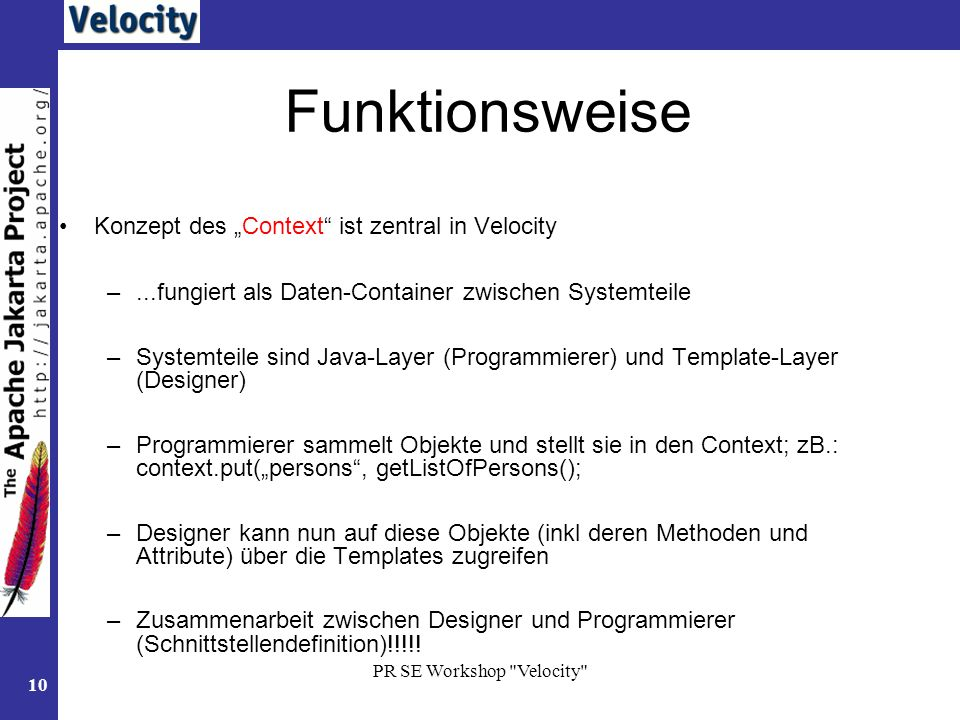 "Funktionsweise Konzept des ""Context ist zentral in Velocity"