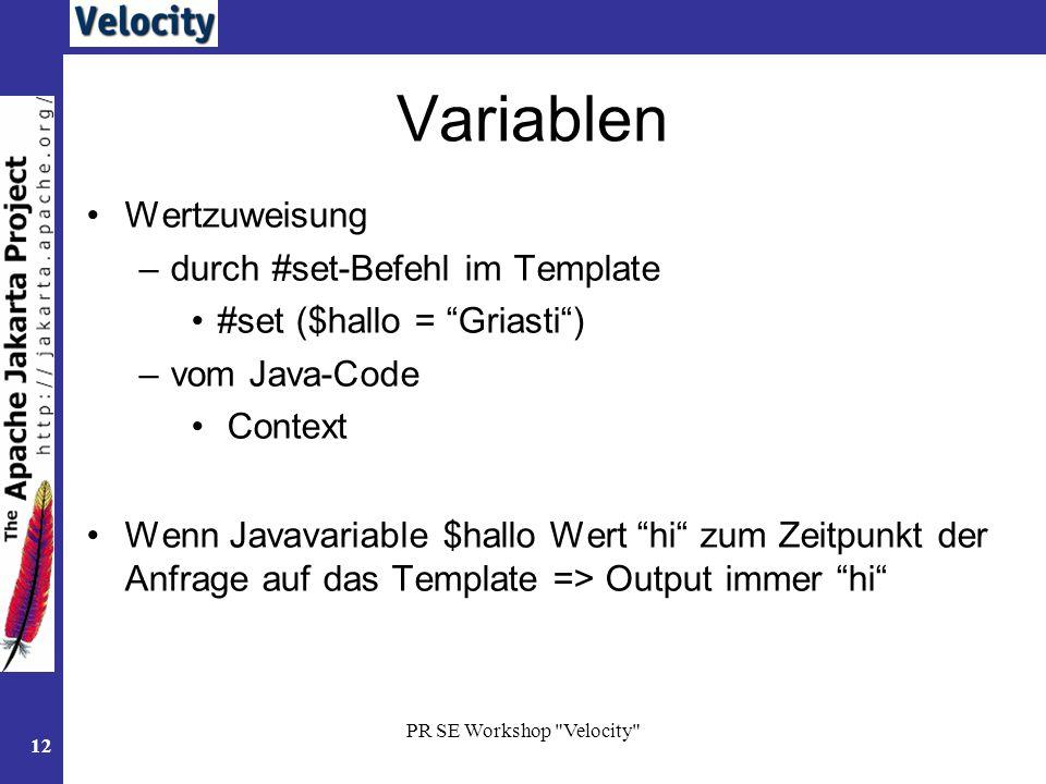 Variablen Wertzuweisung durch #set-Befehl im Template