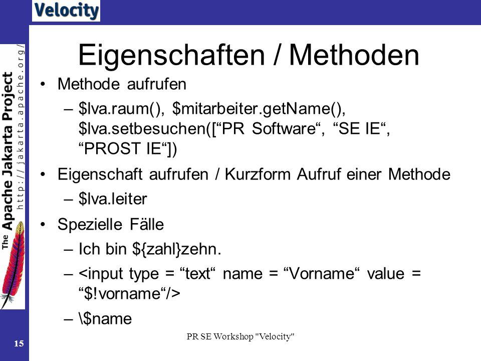 Eigenschaften / Methoden