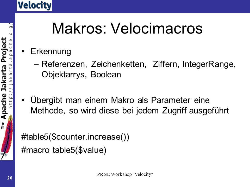Makros: Velocimacros Erkennung