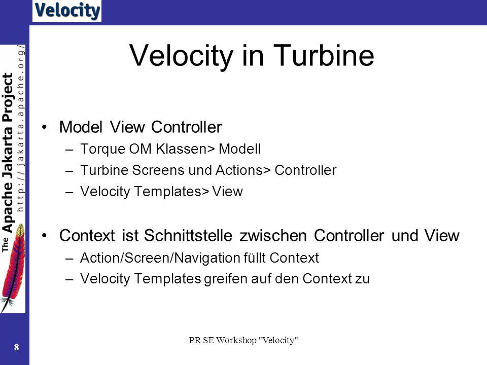 Velocity in Turbine Model View Controller