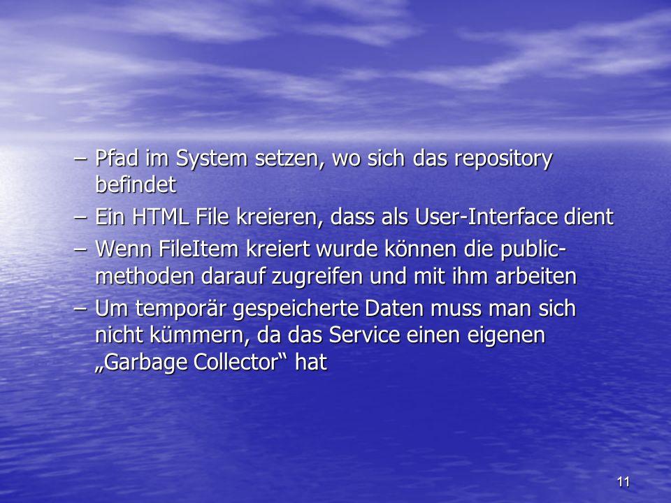 Pfad im System setzen, wo sich das repository befindet