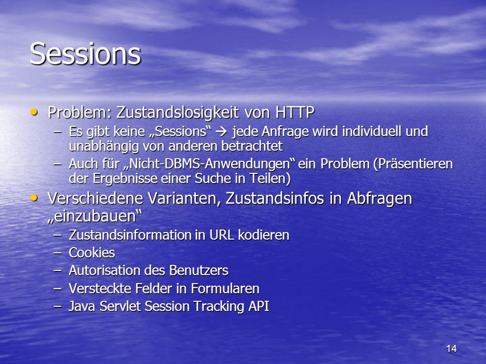 Sessions Problem: Zustandslosigkeit von HTTP