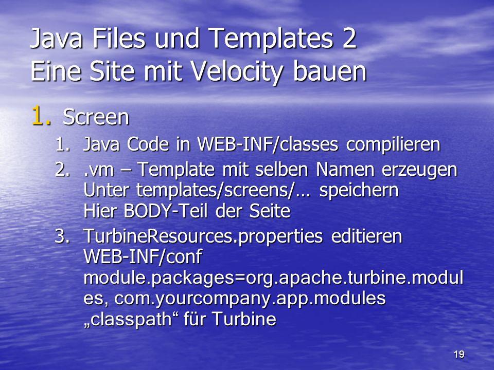 Java Files und Templates 2 Eine Site mit Velocity bauen