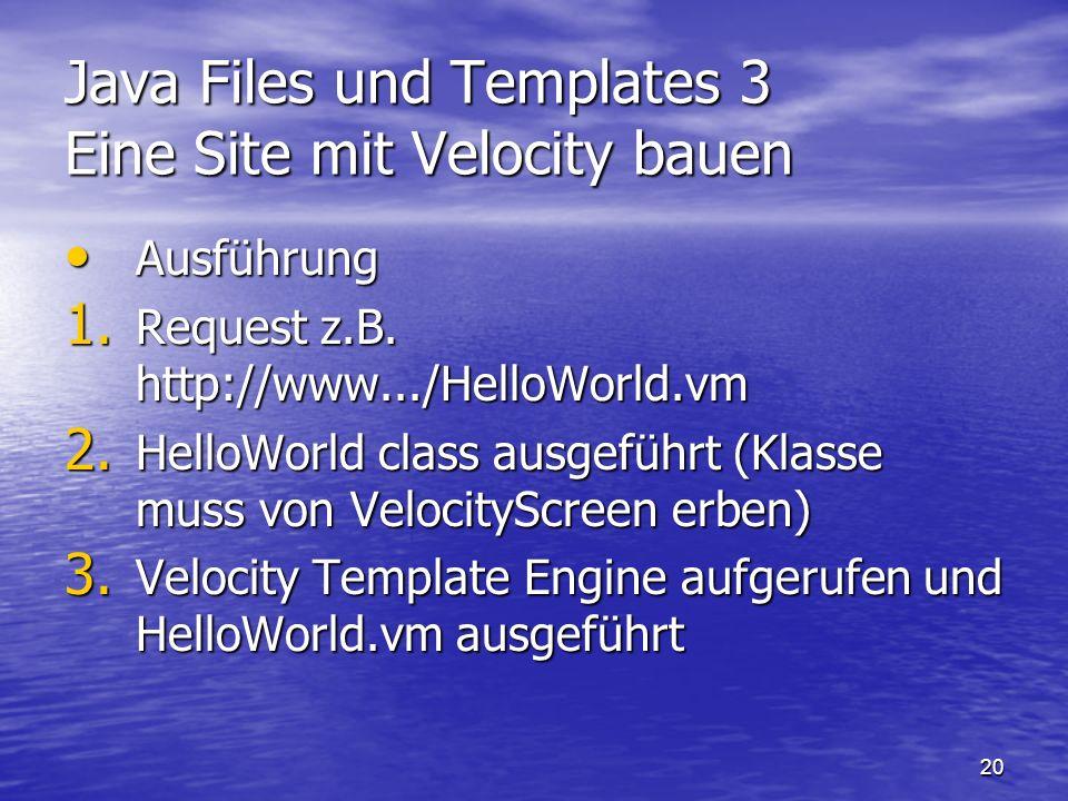 Java Files und Templates 3 Eine Site mit Velocity bauen
