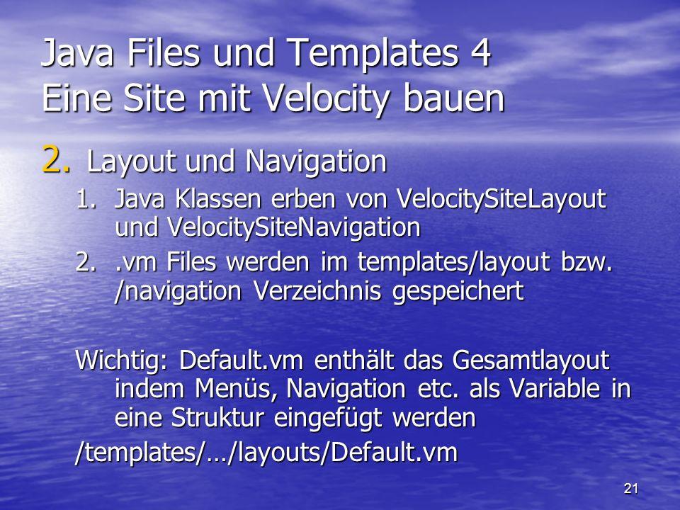 Java Files und Templates 4 Eine Site mit Velocity bauen