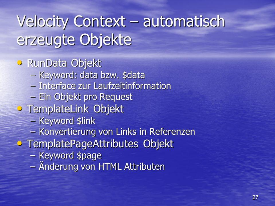 Velocity Context – automatisch erzeugte Objekte
