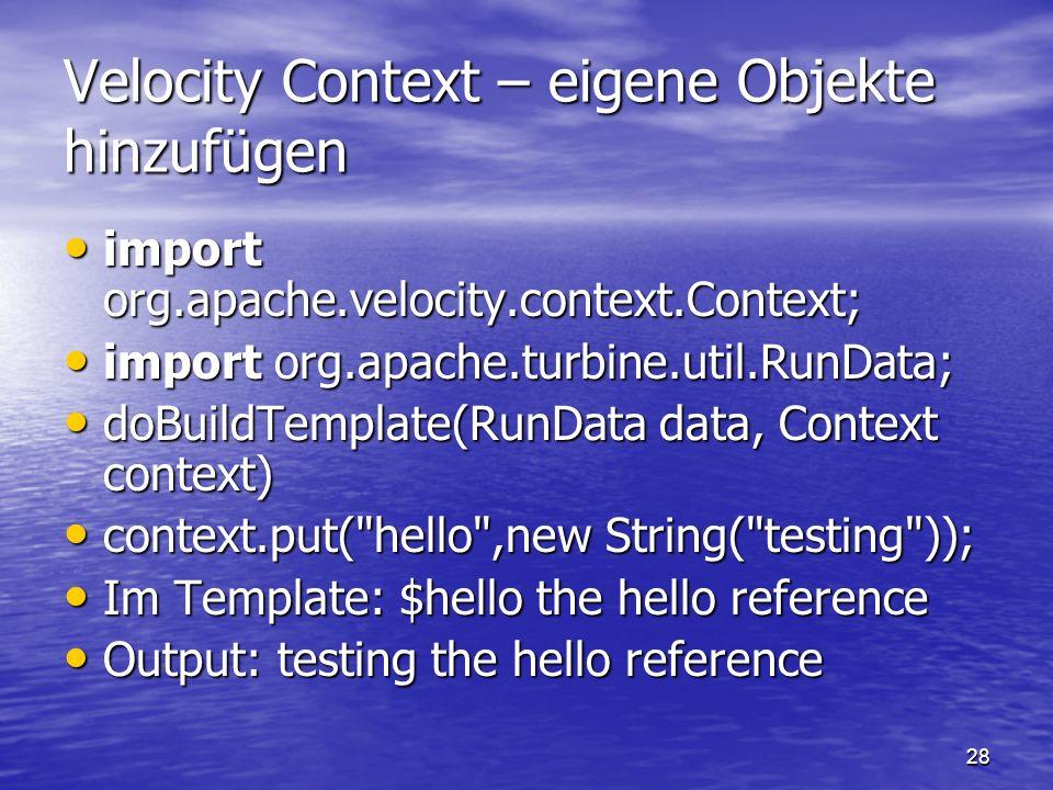 Velocity Context – eigene Objekte hinzufügen