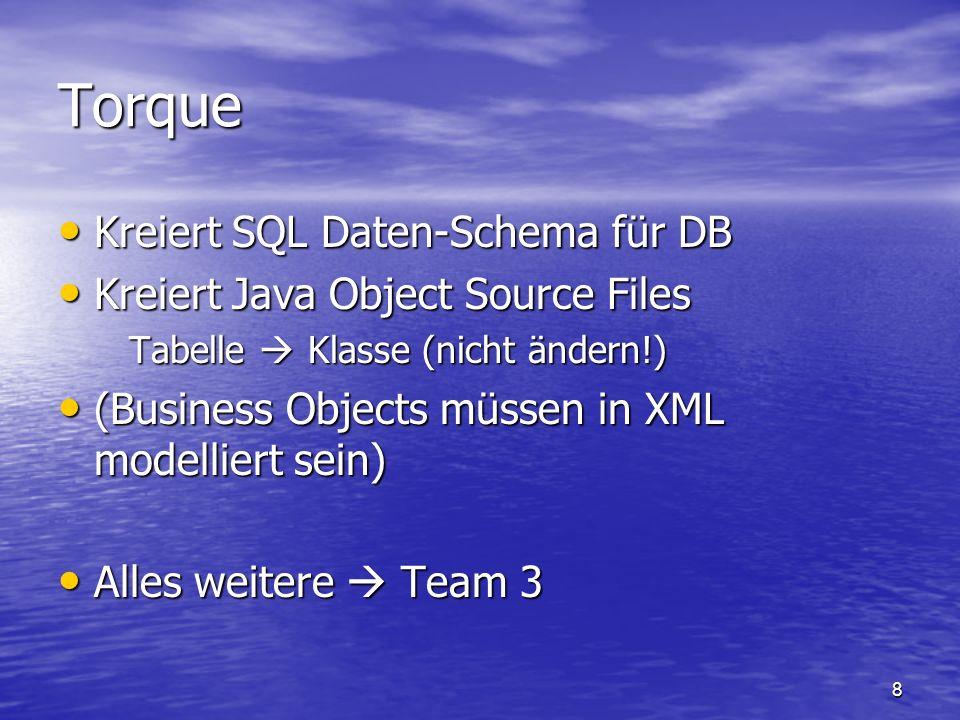 Torque Kreiert SQL Daten-Schema für DB