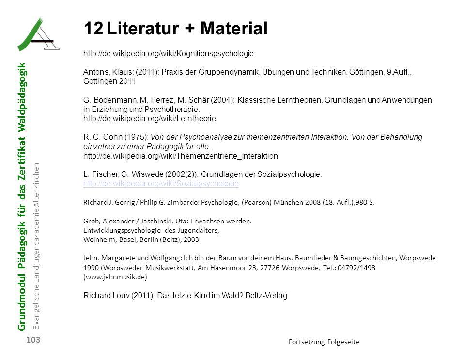 12 Literatur + Material http://de.wikipedia.org/wiki/Kognitionspsychologie.
