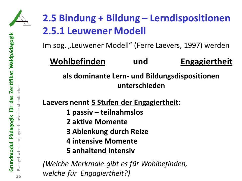 2.5 Bindung + Bildung – Lerndispositionen 2.5.1 Leuwener Modell