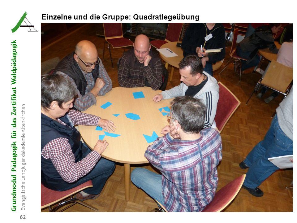 Einzelne und die Gruppe: Quadratlegeübung