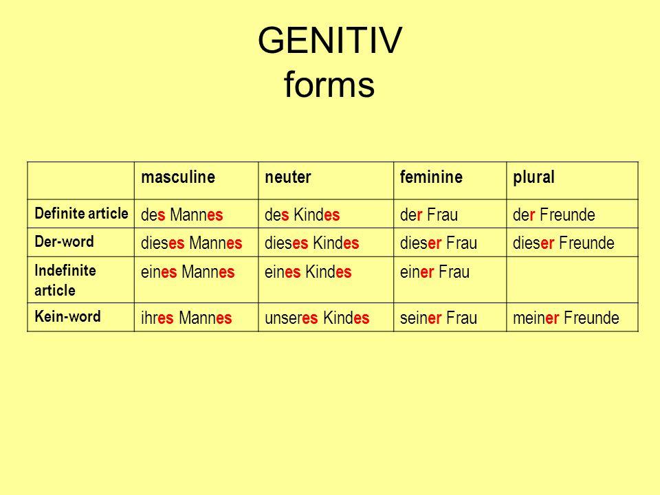 GENITIV forms masculine neuter feminine plural des Mannes des Kindes