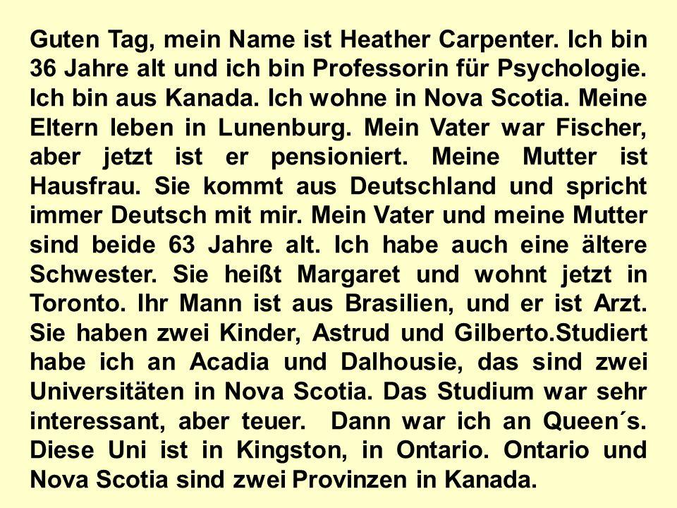 Guten Tag, mein Name ist Heather Carpenter