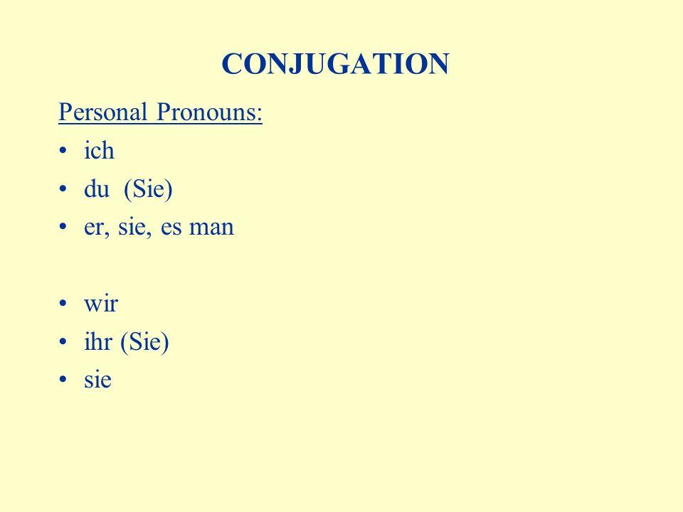 CONJUGATION Personal Pronouns: ich du (Sie) er, sie, es man wir