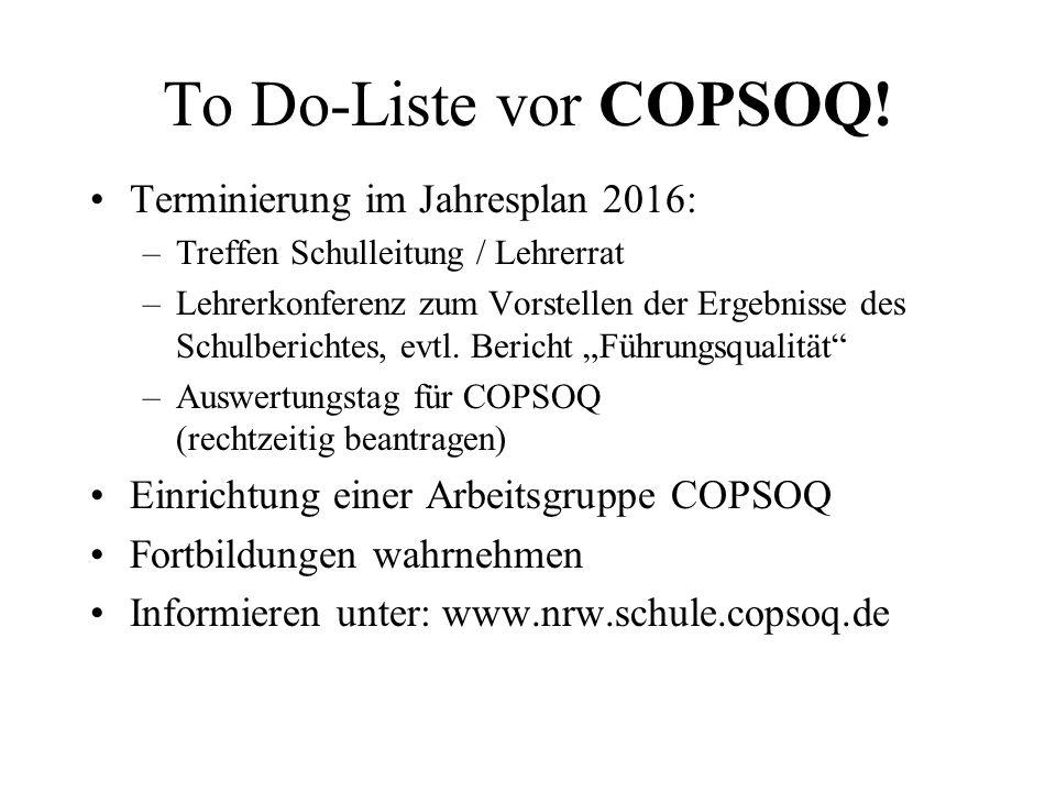 To Do-Liste vor COPSOQ! Terminierung im Jahresplan 2016:
