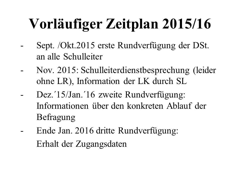 Vorläufiger Zeitplan 2015/16