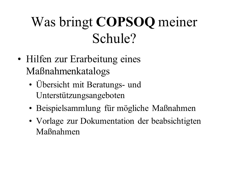 Was bringt COPSOQ meiner Schule