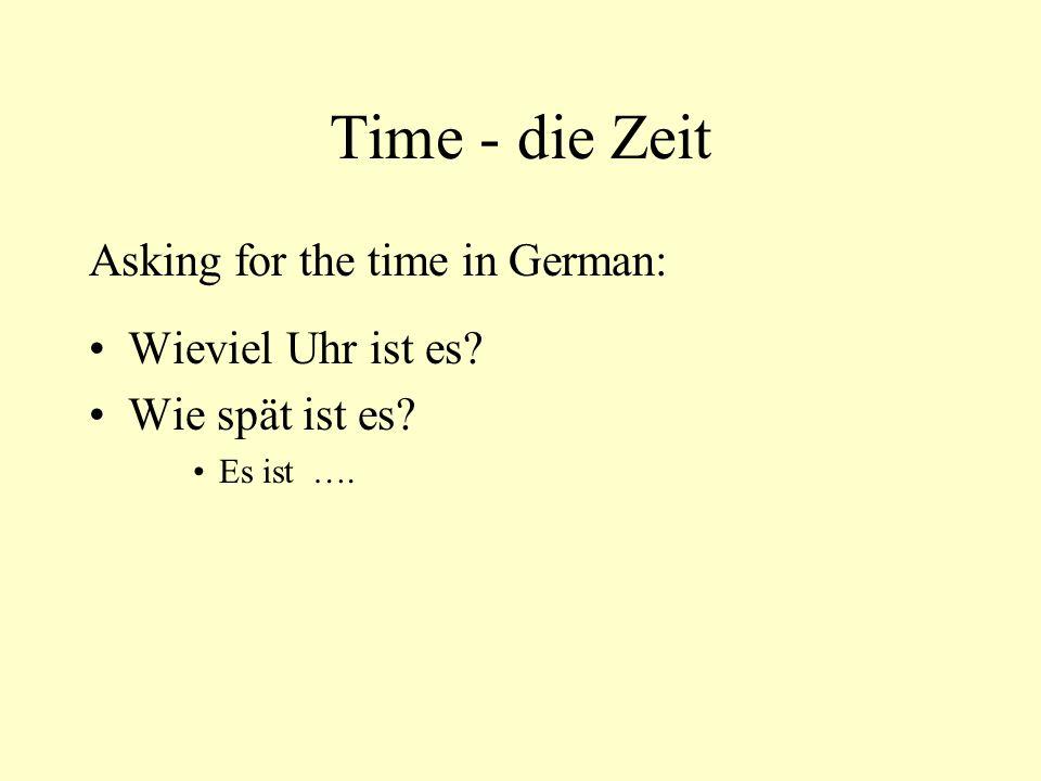 Time - die Zeit Asking for the time in German: Wieviel Uhr ist es