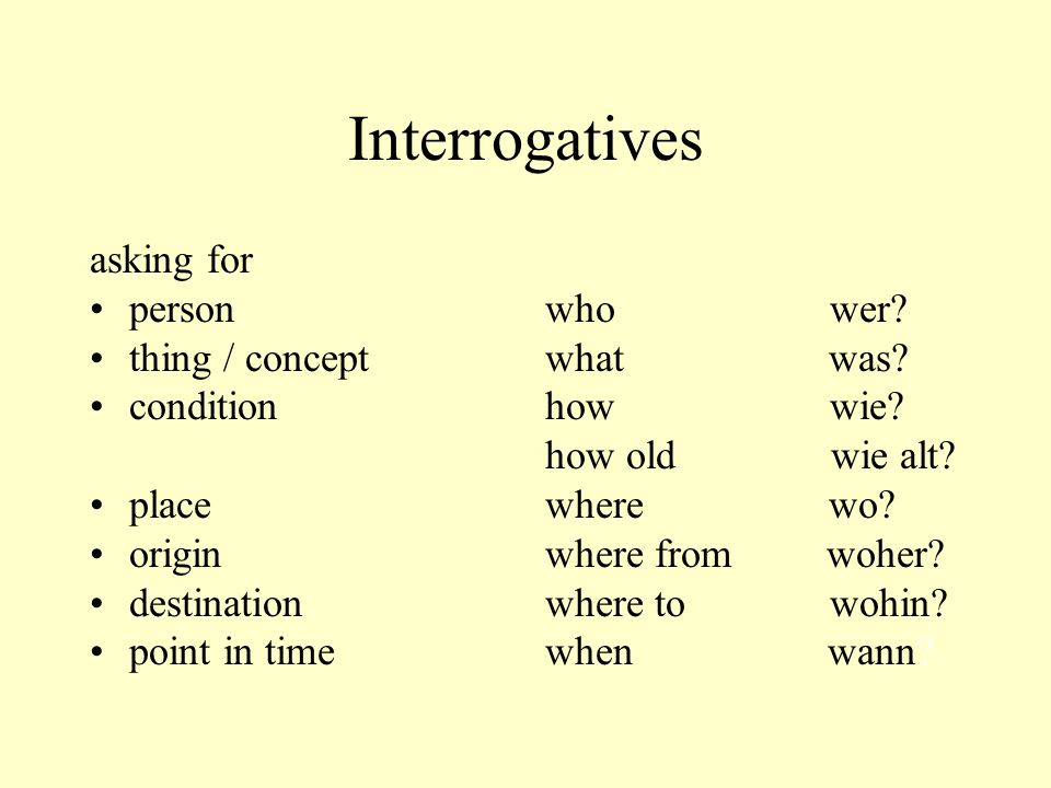 Interrogatives asking for person thing / concept condition place