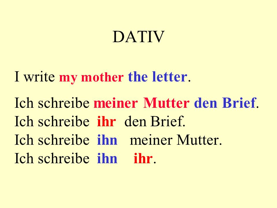DATIV I write my mother the letter.