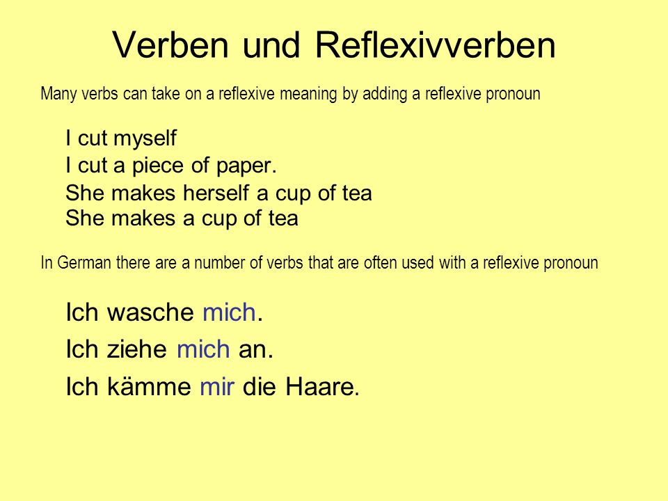 Verben und Reflexivverben