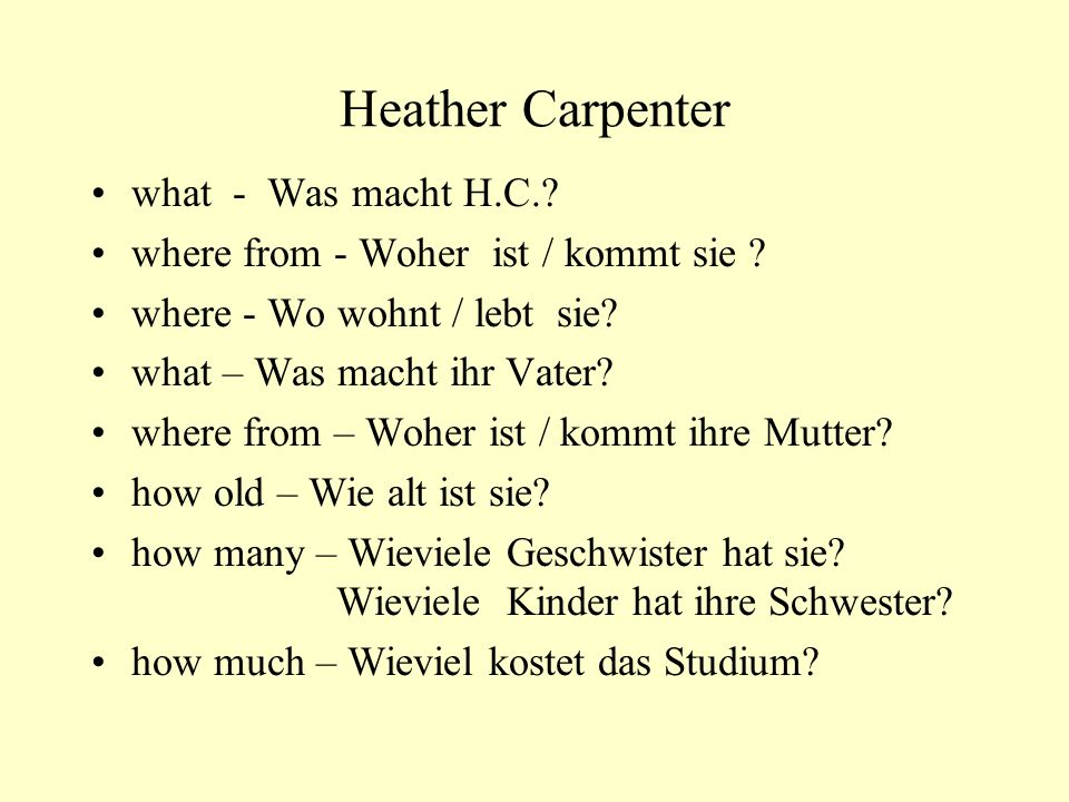Heather Carpenter what - Was macht H.C.